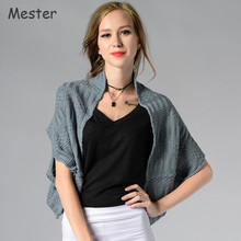 European Fashion Short Shrugs for Women Solid Batwing Cardigan Dual Purpose Thin Knitted Loop Scarf Short Shawl Ponchos Capes