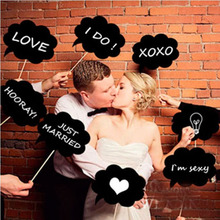 Best New Created New10 Pcs Photo Booth Prop DIY Bubble Speech Chalk Board Wedding Party Photobooth Free Shipping 17UL20(China)