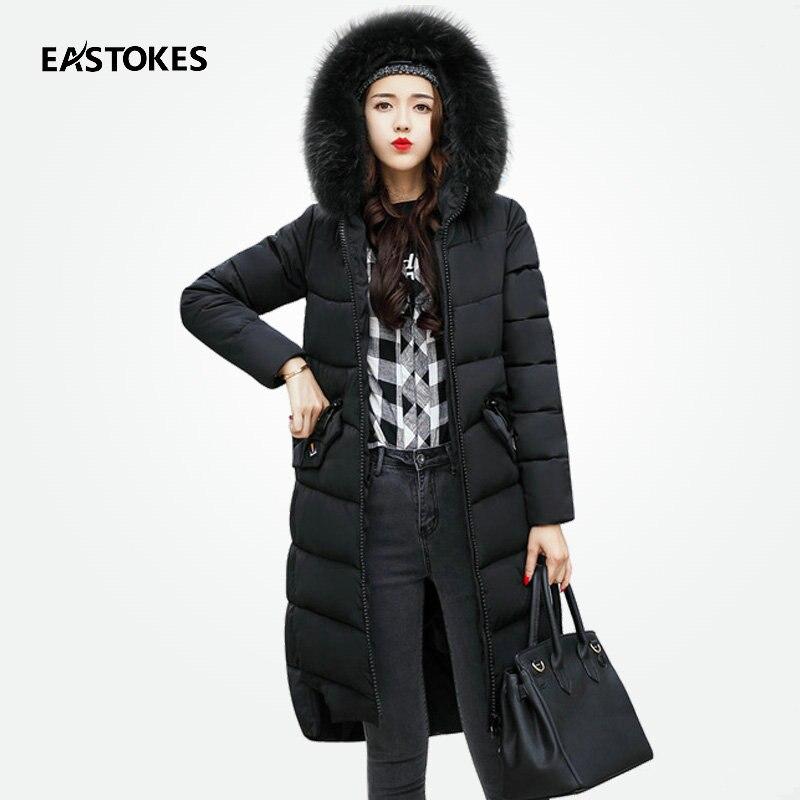 Women Winter Long Coats With Large Fur Collar Slim Fits Zippered Jackets Ladies Quilted Coats Ladies Overcoats Female OuterwearsÎäåæäà è àêñåññóàðû<br><br>