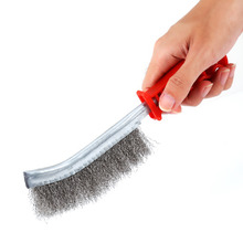 Stainless Steel Wire Brushe Rust Cleaner Clear Plastic Handle Iron Brush Hand Tools Brush