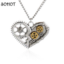 SOHOT Steampunk Heart Gearwheel Pendant Necklace Women Antique Silver Zinc Alloy Unique Jewelry Lover Mother Day Gift