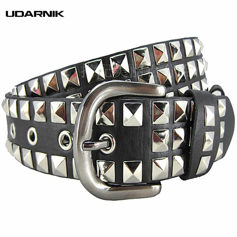Moda Unisex remache PU cinturón Punk rendimiento danza hombres mujeres  cintura cinturones 3 6b16272c8ec3