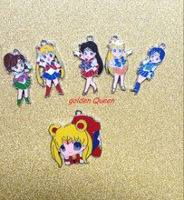 60pcs cartoon MIXS Anime sailor moon Enamel Metal Charm Pendants DIY Jewelry Making Mobile Phone Accessories T01