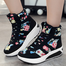 Newest  2016 Winter Women boots High-top Canvas Print Casual Fashion Platform Warm Plush wedges Shoes Ankle Fashion Snow Boots