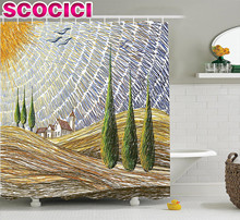 Tuscan Decor Shower Curtain Set Van Gogh Style Italian Valley Rural Fields with European Scenery Digital Painting Artsy Print Ba