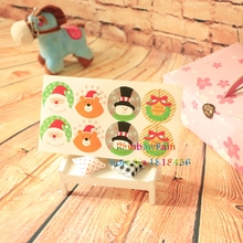 1 Sheet Christmas Gifts Sealing Label Stickers Snowman Desigsn Bowknot Bear Seal Sticker For Macaron Bizkit Adhesive Tags