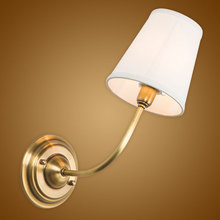 Modern Wall Lamp Full Copper Wall Sconces Fabric Lampshade Bathroom Mirror Bedside Cabinet Fixtures Home Lighting BLW033