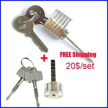 Hot sale Transparent Cutaway Practice Traditional Lock Cross Lock Locksmith Tools practice lock set free shipping(China)