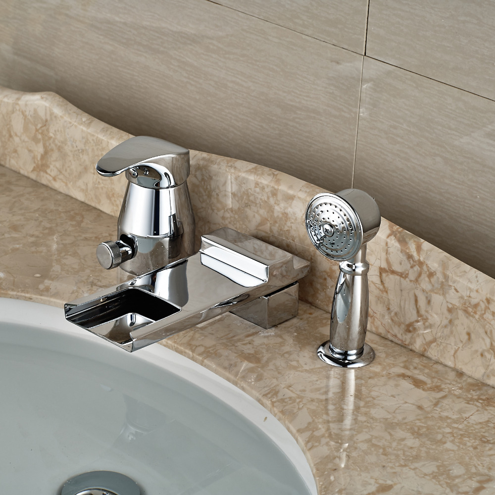 Luxury Brass Waterfall Single Handle Bathtub Faucet Set Deck Mount 3 Holes Bath Shower Mixer Tap with Handheld<br><br>Aliexpress