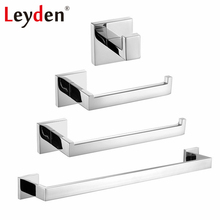 Leyden 4pcs Stainless Steel ORB/Chrome/Brushed Nickel Towel Bar Toilet Paper Holder Robe Hook Towel Ring Bathroom Accessory Set(China)