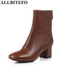 ALLBITEFO EURO 33-43 Fashion square toe genuine leather square toe thick heel ankle boots fashion brand boots woman bota de neve