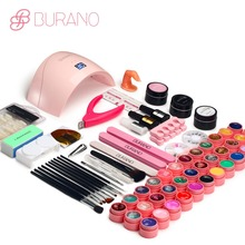 BURANO 24W UV LED Nail lamp dryer 36 color uv led building gel nail remover set brush file kit nail art manicure tools sets kit(China)