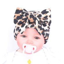 Winter Newborn Infant Toddler Girls Baby Floral Prints Big Bowknot Knitted Beanie Hat Comfys Hospital Cap Leopard fotografia Y1