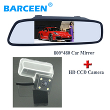 With 4 led lamp car reserve parking camera +wire car back up mirror monitor black plastic shell for CITROEN DS4 2012 /C4L 2013