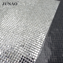 JUNAO 24*40cm Hotfix Square Glass Rhinestones Mesh Trim Clear Crystals Applique Strass Crystal Banding for Clothes Jewelry(China)