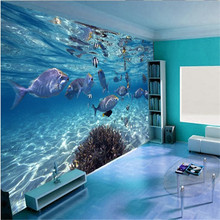 beibehang Custom Photo Stereo 3D Wallpaper Underwater World Live Fish Child TV Wall 3d papel de parede