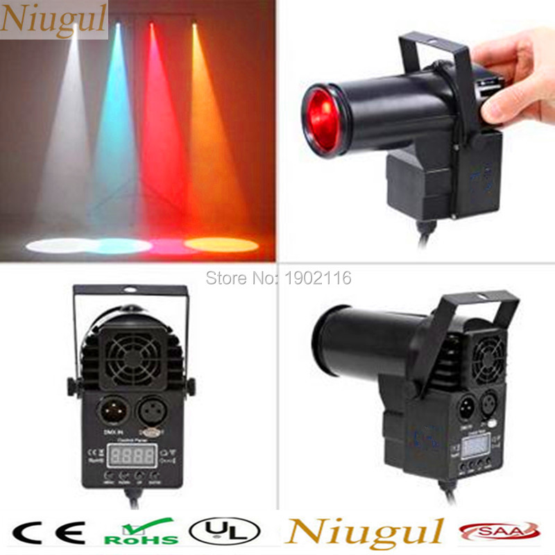 Niugul Portable 10W RGBW DMX512 LED Beam Pinspot Spotlight DJ Bar Show Stage Lighting 10W led lamp for glass KTV ball home party<br>