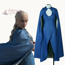 Athemis New Arrival Dress Game of Thrones Daenerys Targaryen Cosplay Costumes Sex Sleeveless Dress Electric Blue Dress Cloak