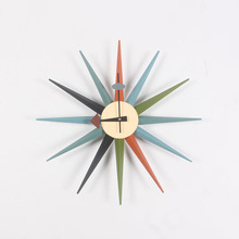 CW08 Factory direct Wooden Multi Color Sunburst wall clock Manufacturers of professional designers clock wholesale wall clocks