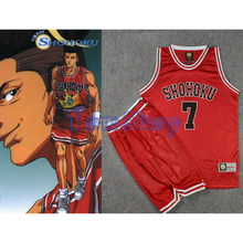 Slam Dunk Cosplay Costume SHOHOKU #7 Ryota Miyagi Red Basketball Jersey and Shorts Suit Sportswear Athletic Team Uniform M-XXL