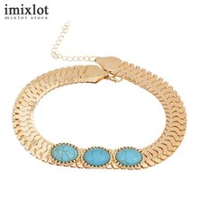 Buy Imixlot Ethnic Vintage Wide Statement Charms Necklace Women Gold Chain Oval Natural Stone Choker Necklaces Pendants Jewelry for $1.34 in AliExpress store