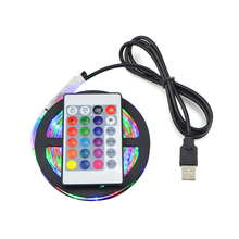 1Set SMD 3528 RGB USB LED Strip Light Waterproof DC 5V String Light With 24 Key Remote Controller For TV Background Lighting(China)