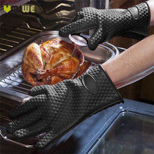 2 Pcs Heat Resistant Barbecue Gloves Thick Silicon Kitchen Barbecue Oven Cooking Glove BBQ Grill Glove Oven Mitts Baking Glove(China)
