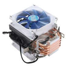 Newest 12V Dual CPU Cooler Fan Quiet Blue LED Light 92x92x25mm 3pin Powerful Fan for Intel LGA775/1156/1155 for AMD AM2/3