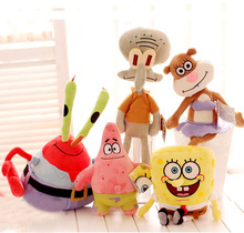 Hot Sale 1pcs 23cm Spongebob Bob/Patrick/Crab/Sandy/Octopus/Snail Dolls Girl Stuffed Animals Plush For Children Free Shipping