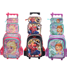 2017 new hot quality princes snow squeen cars children trolly school bag set trolley luggage backpack set for boys and girls(China)