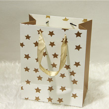 1pc Gold Color Gift Bags Wedding Party Gift Bag Jewelry Candy Holding Valentines Gifts Bag Gold Star & Circle Bag With Handles