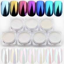 1.5g/box Seashell Chameleon Mirror Nail Glitters Shinning Powder Aurora Pearlescen Shell Nail Art Chrome Manicure Dust Decotion