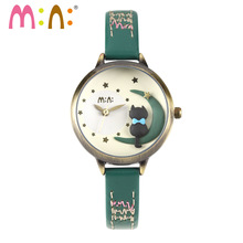 M:N: Handmade POLYMER CLAY Korea Mini watch ladies Women's watches Children wristwatch girls clock relogio feminino cat on moon