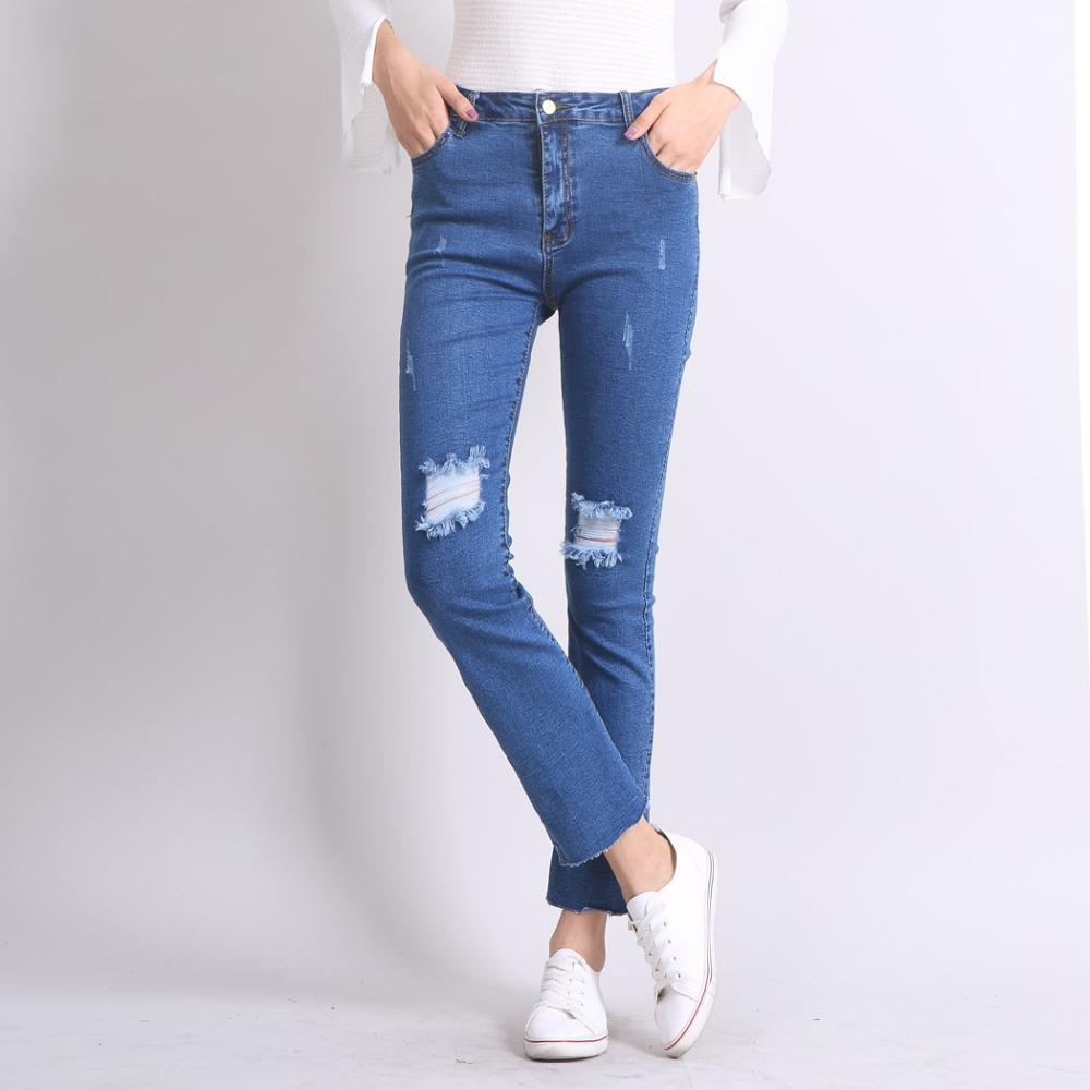Street Style Ankle-Length Flared Knee Ripped Tassels Boyfriend Jeans for Women Slim Casual Denim Pants Winter Long PantsОдежда и ак�е��уары<br><br><br>Aliexpress