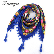 DANKEYISI Women Scarf Women Square Scarves Female Wraps Tassel Printed Girl Blanket Scarf Ladies Shawls Hijab Scarf Bandana(China)