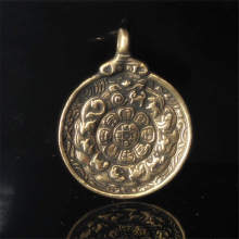 TBP208 Tibet brass Golden Amulet waist tag Jiugong Bagua 12 zodian animals Tibet Totem for Man