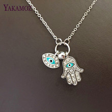 2017 Gold/Silver Hamsa Blue Eyes Necklace Turkish Style May Goddess Pray For Health Unique Women Pendant Necklaces
