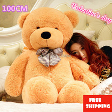 Big Teddy Bear Stuffed Toys the Straight Length 100CM Life size Teddy Bear Giant Stuffed Bear Toys for Girls Birthday Gift