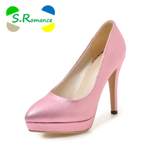 Buy S.Romance Women Pumps 2018 Plus Size 34-43 New Fashion Elegant Pointed Toe High Heel Office Lady Woman Shoes Gold Pink SH055 for $27.21 in AliExpress store