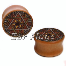1 pair mandala star wood saddle plug gauges ear plugs flesh tunnel body piercing jewelryWSP001