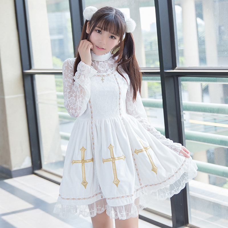 Spring Vintage Palace Cross Lace Rose Floral Embroidery Lolita Dress Women Cotton Velvet Puff White Princess Dresses V170(China (Mainland))