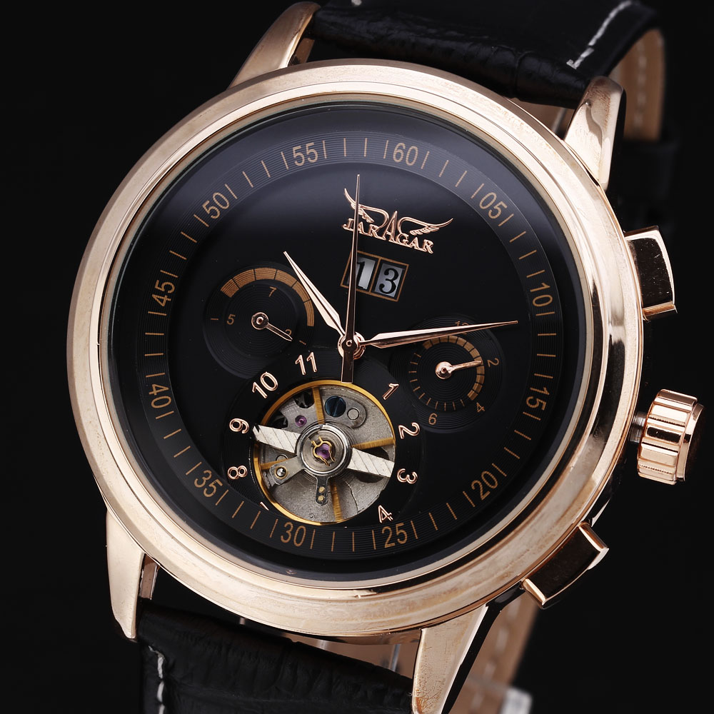 2016 New Men Watches Skeleton Clock Fashion Tourbillon Mechanical Automatic Mens Luxury Business Leather Strap Gold Wrist Watch<br>