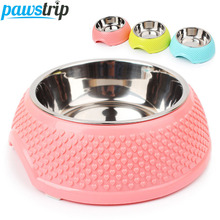 1pc Heart Print Pet Dog Feeder Plastic Stainless Steel Dog Bowl 14*18.5*6cm