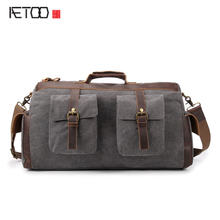 AETOO Canvas bag retro mad horse leather bag travel bag thick wash canvas a generation on behalf of the cash package
