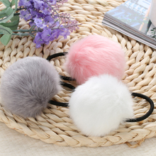 2PCS Women Lady Lovely Warm Artificial Fake Rabbit Fur Ball Girl Headwear Elastic Rope Ponytail Holders Hair Tie Band Accessorie