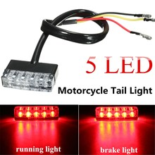 Universal Motorcycle ATV Bike Mini 5 LED Rear Tail Running Stop Brake Light Lamp Red 12V(China)
