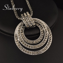 SINLEERY Luxury Multilayer Black Crystal Circle Pendant Long Necklace Women Black Chain Vintage Jewelry Valentines Gift MY017