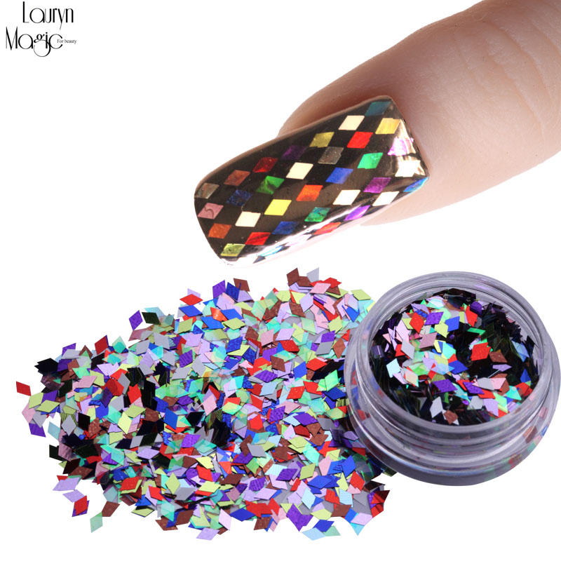 1pcsNail Art Sparkly Rhombus Laser Shinny Designs 12 Different Glitter Colors Diamond Shape Paillette Tips(China)