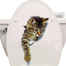 creative cats toilet stickers home decor Hole View 3D Cats Wall Sticker bathroom stickers Pet Animal Decals PVC Art Wall Poster(China)