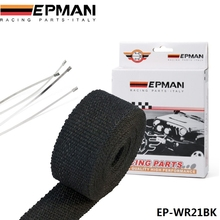 "EPMAN-25"" Black Turbo Manifold Heat Exhaust Thermal Wrap & Stainless Ties For Honda Toyota Healey For VW GOLF GTI 2.0T EP-WR21BK(China)"